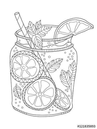 375x500 Lemonade Coloring Page Lemonade Adult Coloring Page In Style Pink