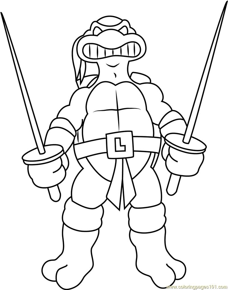 800x1016 Leonardo With Swords Coloring Page