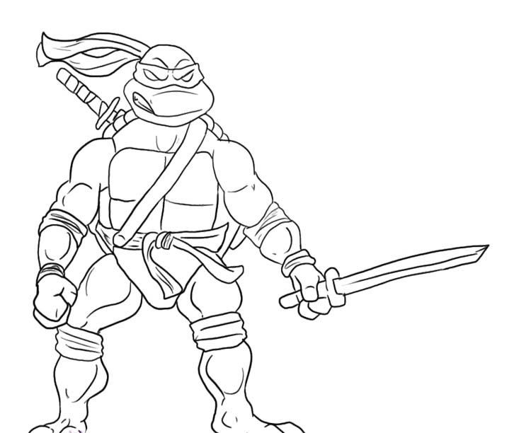 750x612 Leonardo Ninja Turtle Will Readily Kill Coloring Page Ninja