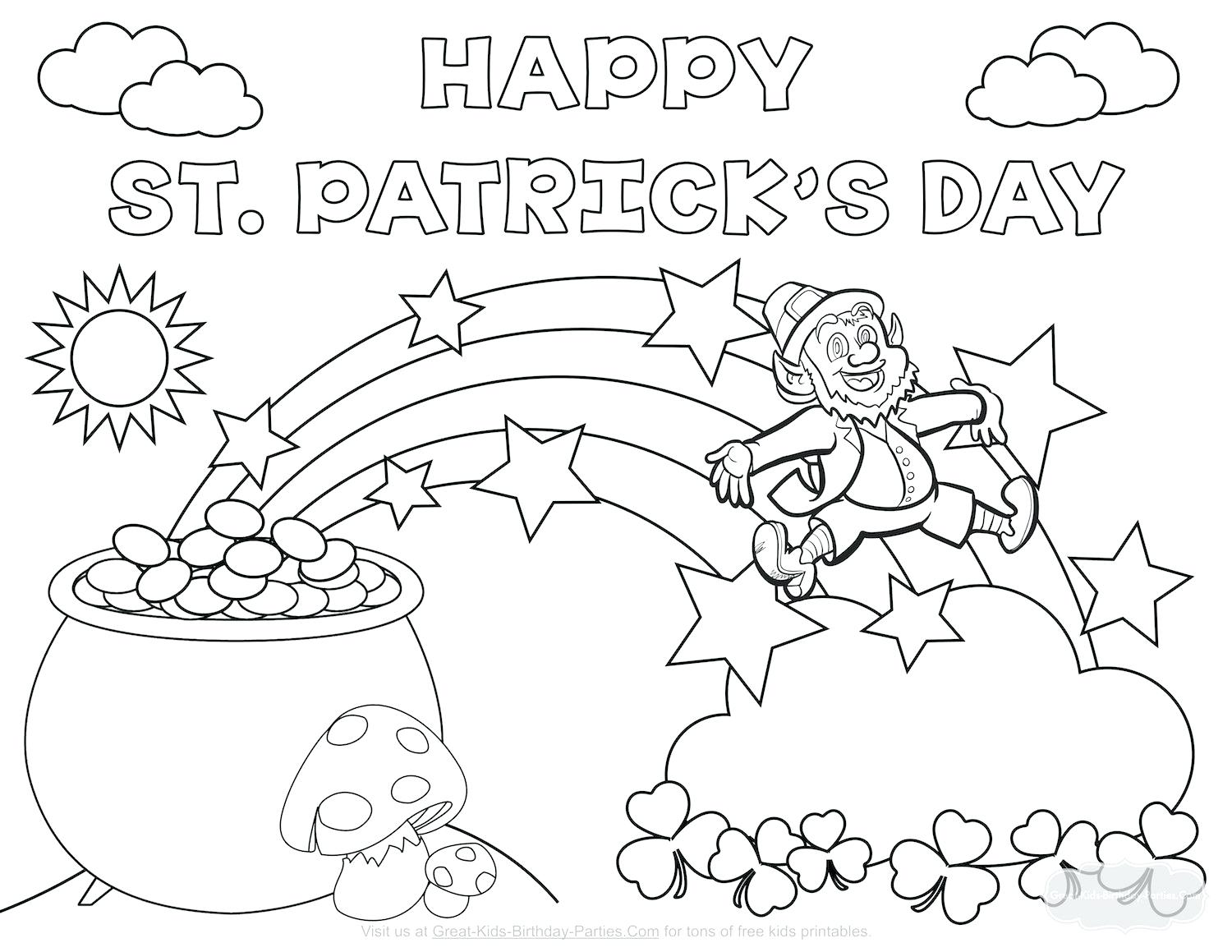 1500x1159 Awesome Pot Of Gold Coloring Page Printable A Leprechaun And His