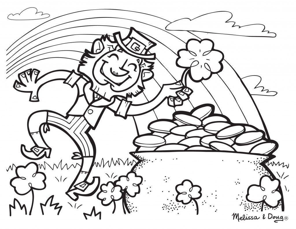 1024x791 Leprechaun And Rainbow Coloring Pages Acpra