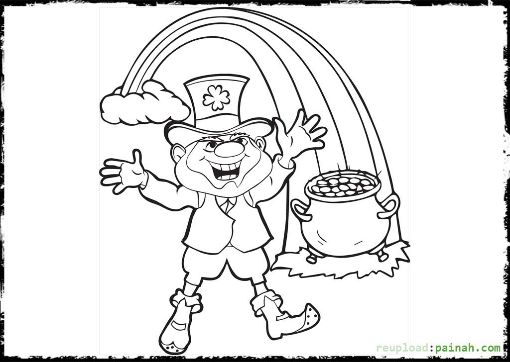 1024x728 Leprechaun Rainbow Coloring Page