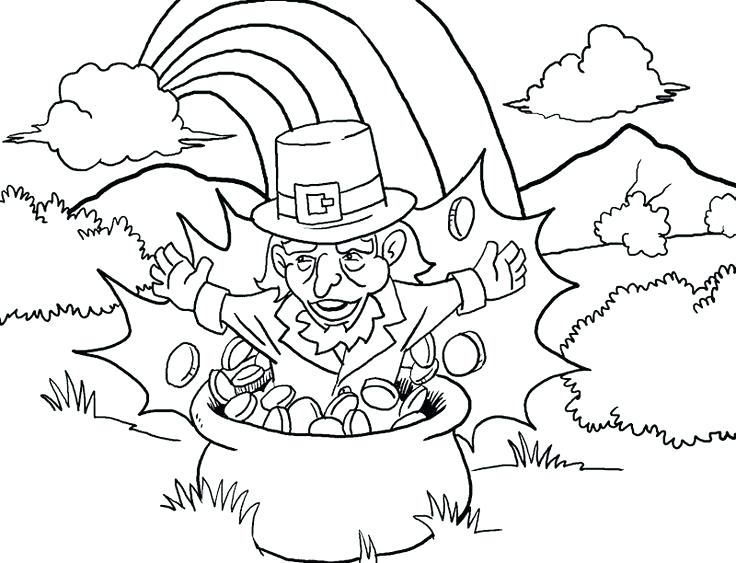 736x563 Leprechaun Rainbow Pot Of Gold Coloring Page Cute