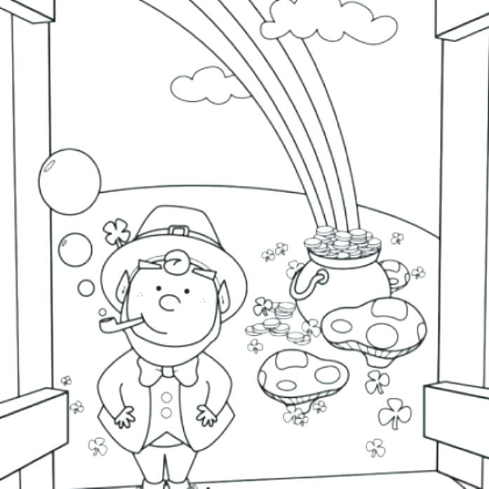 697x697 Pot Gold Coloring Leprechaun Coloring Sheet Leprechaun Pot