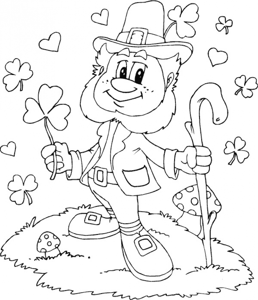 827x960 Rainbow Coloring Sheets Click The Leprechaun Doll With A Pages