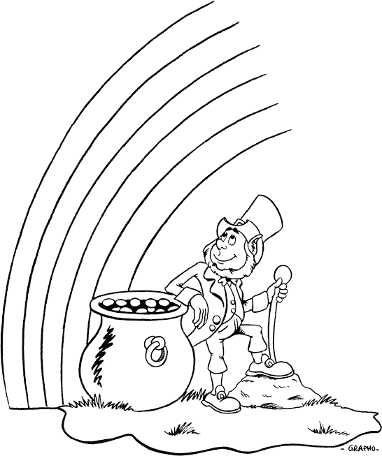 546x653 Leprechaun Watching Rainbow Coloring Page