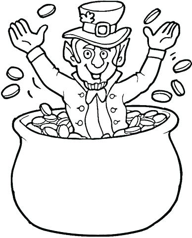 388x480 Free Printable Rainbow Pot Of Gold Leprechaun Coloring Pages Free