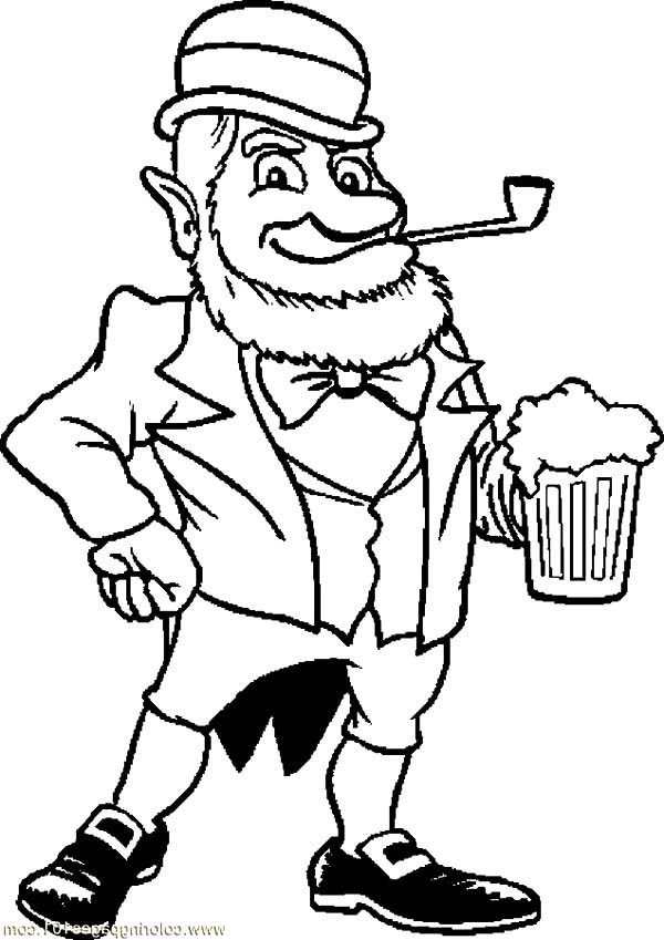 600x849 An Old Leprechaun With Beer Coloring Pages Best Place To Color