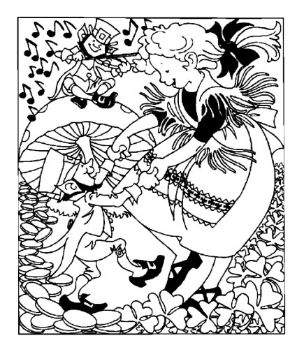 425x504 Dancing With Leprechauns Coloring Page