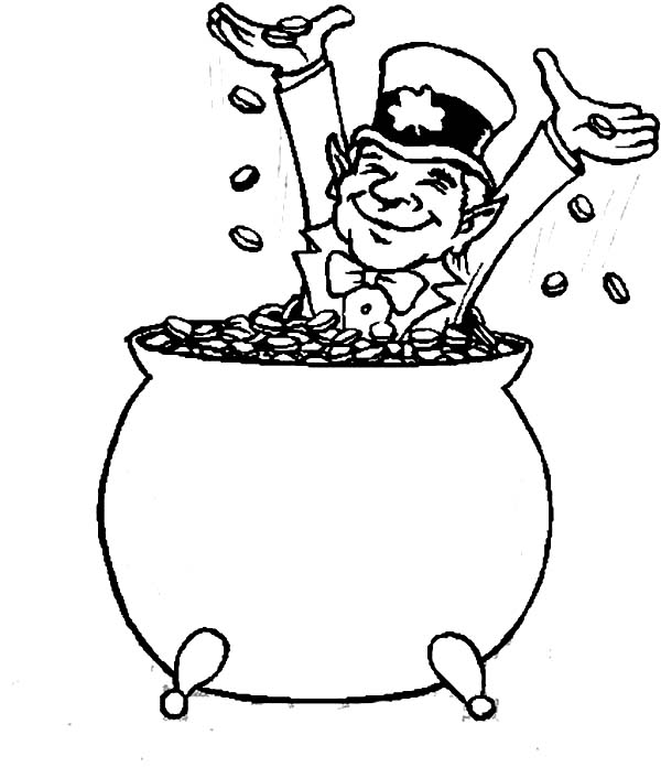 600x706 Happy Leprechaun Bathe In Coins Inside A Pot Of Gold Coloring Page