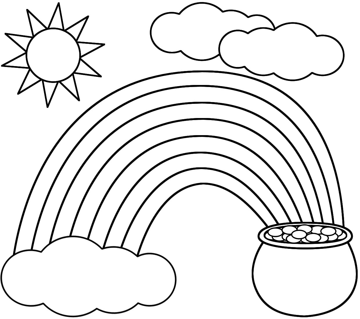 1240x1100 Leprechaun Coloring Pages Free Best Of Rainbow Pot Gold Sun