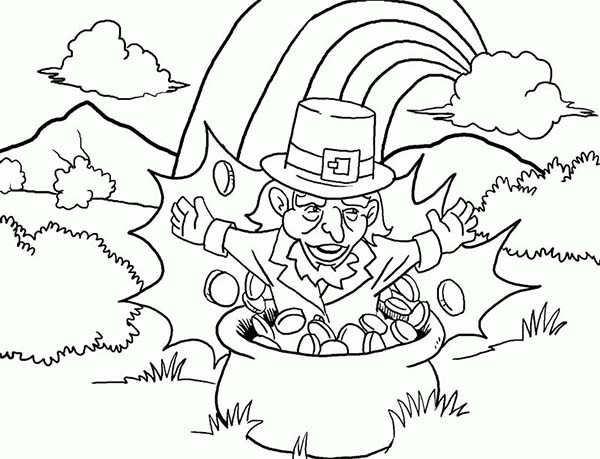 600x459 Leprechaun Pop From The Pot Gold Coloring Page Bebo Pandco