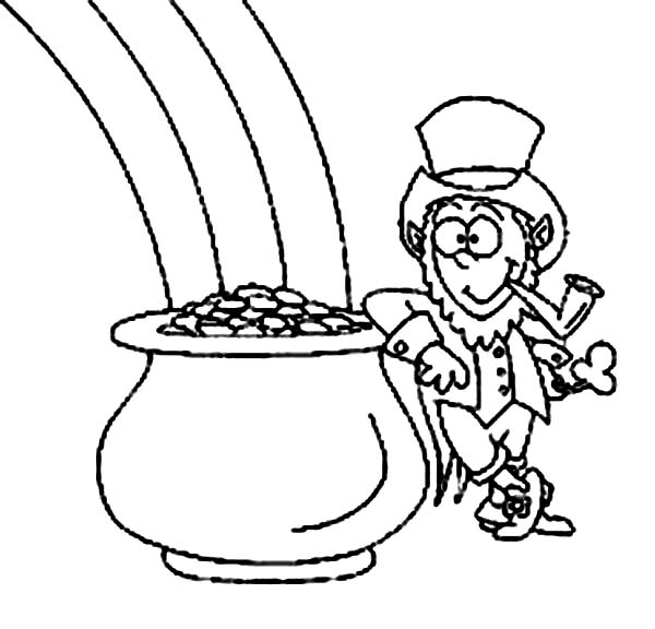 600x576 Leprechaun And Pot Of Gold Coloring Pages