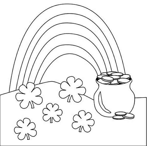 600x592 A Beautiful Rainbow And A Pot Of Gold Coloring Page A Beautiful