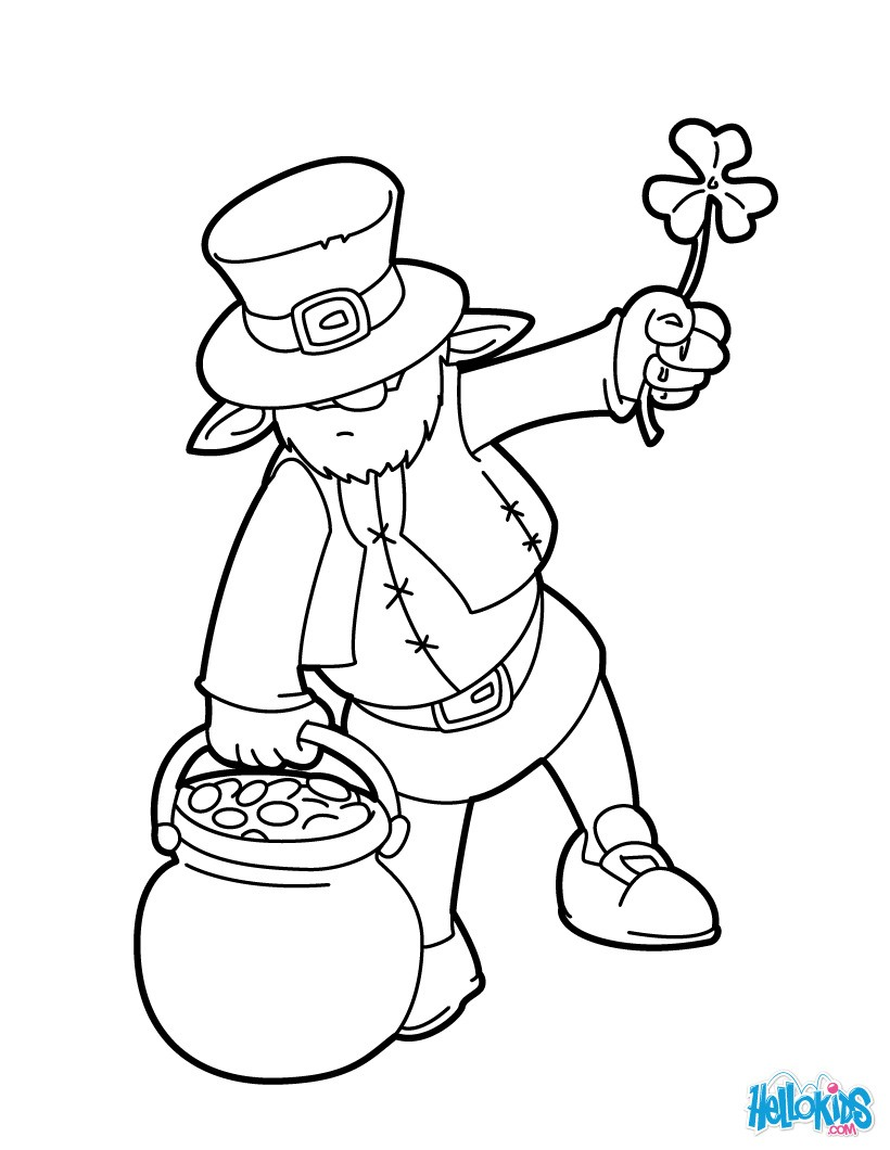 820x1060 Leprechaun And Pot O Gold Cauldron Coloring Pages