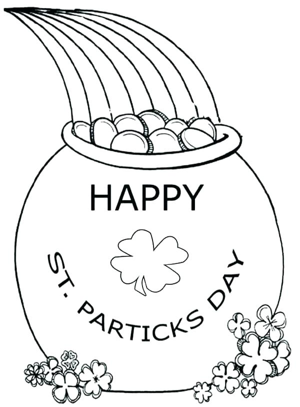 600x813 Pot Of Gold Coloring Page St Day Coloring Page Pot Of Gold Outline