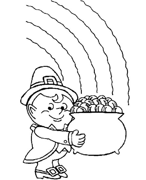 600x740 A Fatty Leprechaun With His Pot Of Gold Coloring Page