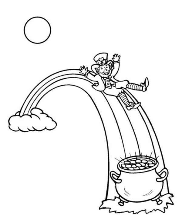 600x734 This Leprechaun Sliding Onto A Pot Of Gold Coloring Page