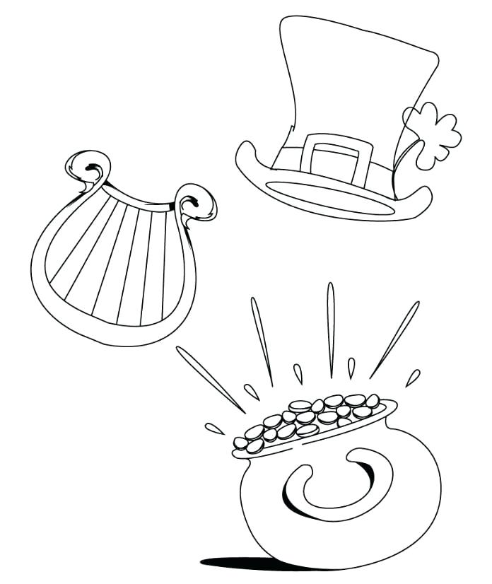 696x826 Leprechaun Rainbow Pot Of Gold Coloring Page