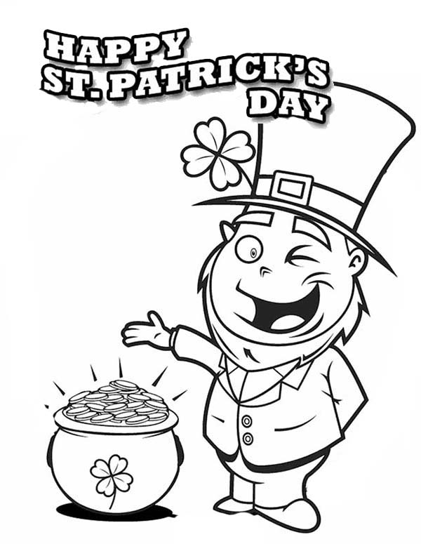 600x775 A Happy Leprechaun Found Pot Of Gold On St Patricks Day Coloring