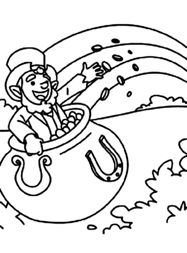 600x811 A Leprechaun Inside A Pot Of Gold Coloring Page