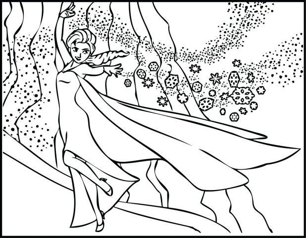 618x481 The Snow Showing Magic Coloring Page Elsa Pages Frozen Let It Go