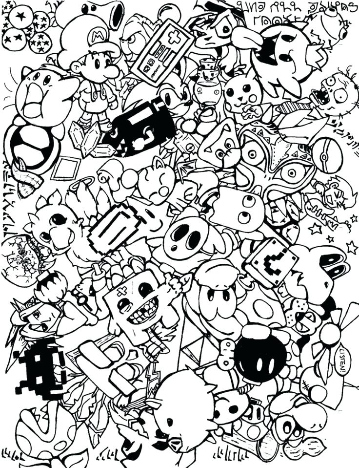 736x958 Doodling Coloring Pages Everychatco Doodling Coloring Pages
