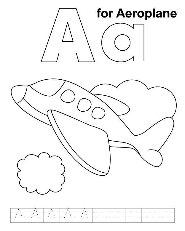 624x780 A For Aeroplane Coloring Page With Handwriting Practice Trains
