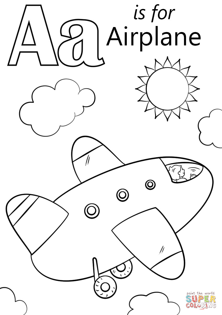 849x1200 Letter A Is For Airplane Coloring Page Free Printable Pages Girls