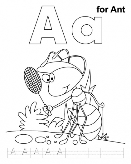 420x525 A Ant Coloring Page With Handwriting Practice Activites