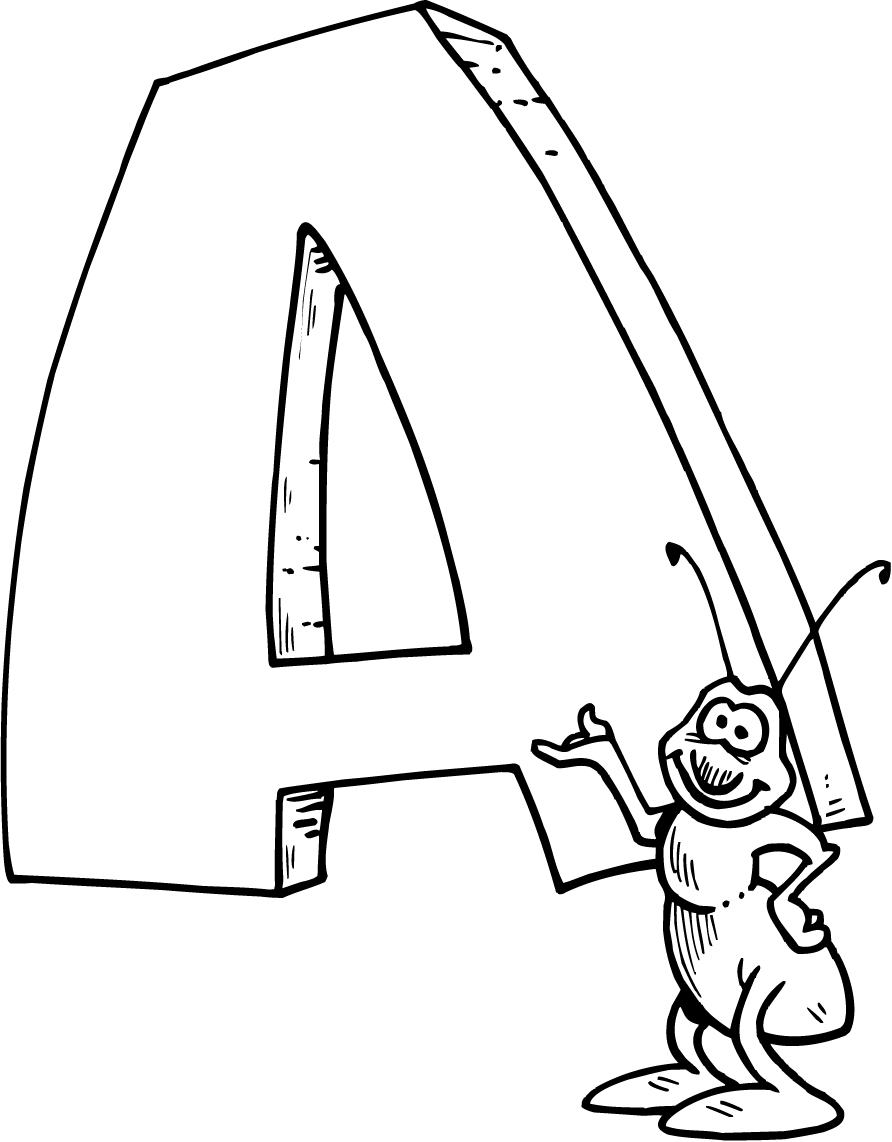 892x1142 Coloring Page Of A Letter A With A Bug