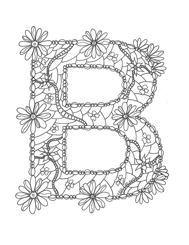 612x792 Elegant Letter B Coloring Pages Coloring Ws