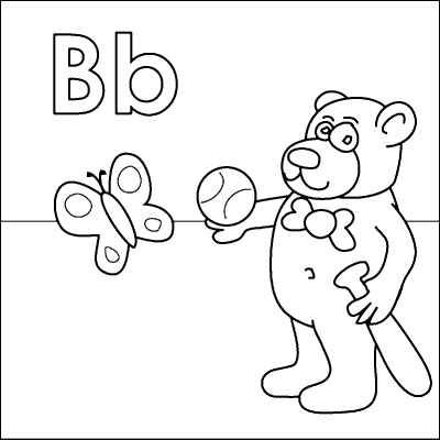 400x400 Letter B Coloring Page