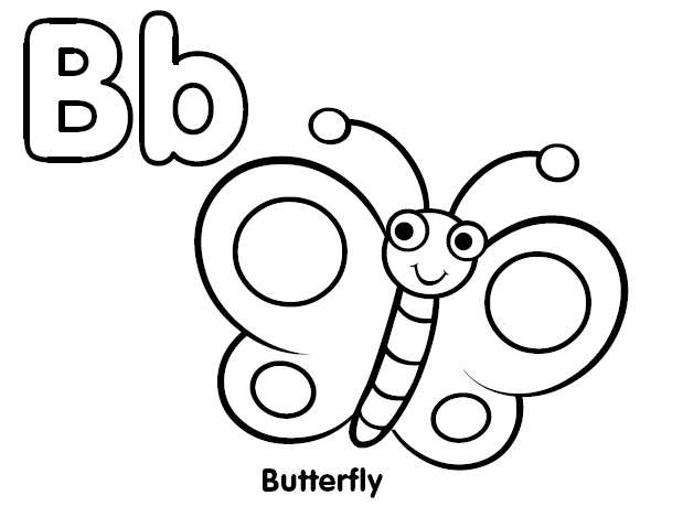 619x479 Coloring Letter B Coloring Butterfly Coloring Child Coloring