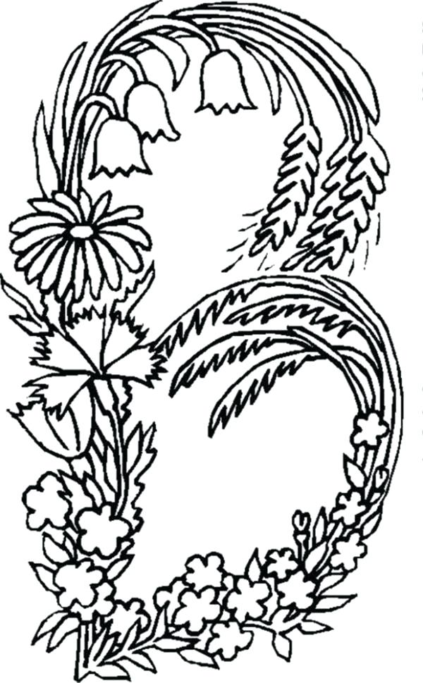 600x969 Coloring Pages Letter B Alphabet Flowers Letter B Coloring Pages