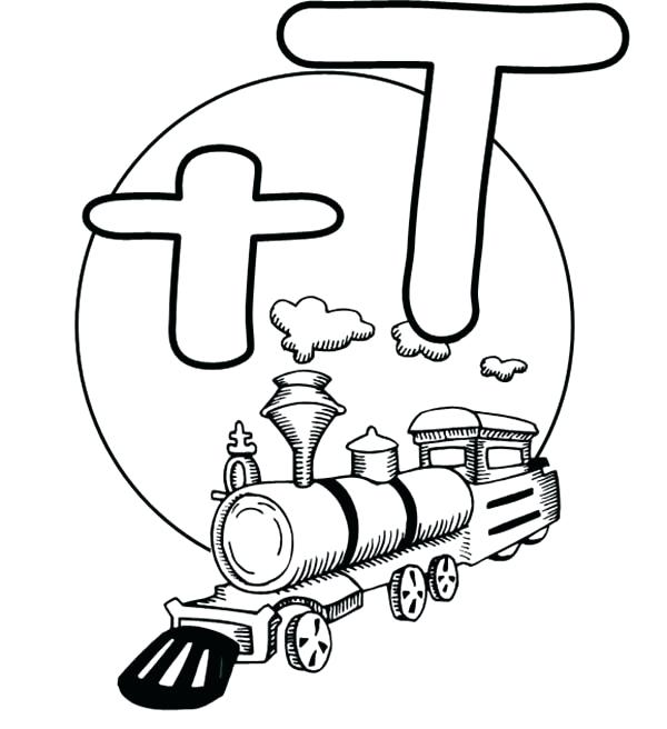600x656 Interesting Letter T Coloring Pages Letter T Is For Train Coloring