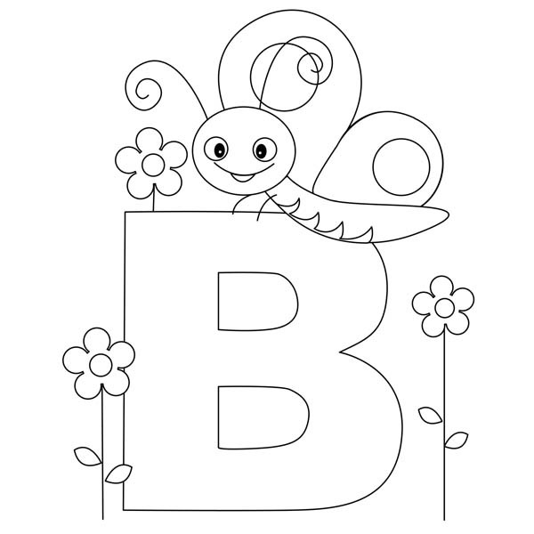 600x600 Beautiful Butterfly For Letter B Coloring Page Best Place To Color