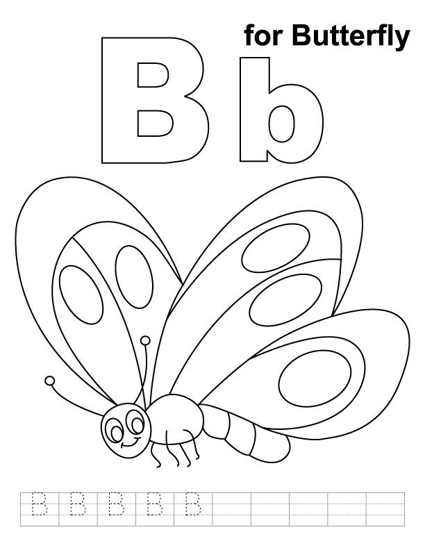 612x792 B For Butterfly Coloring Page With Handwriting Practice Let
