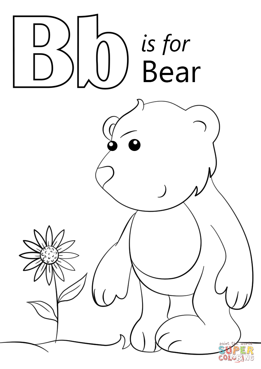 849x1200 Letter B Coloring Page Printable Pages Best