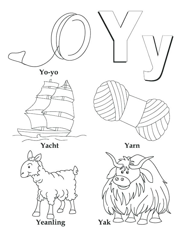 600x776 Letter Y Coloring Page Y Coloring Pages Big And Small Case Letter