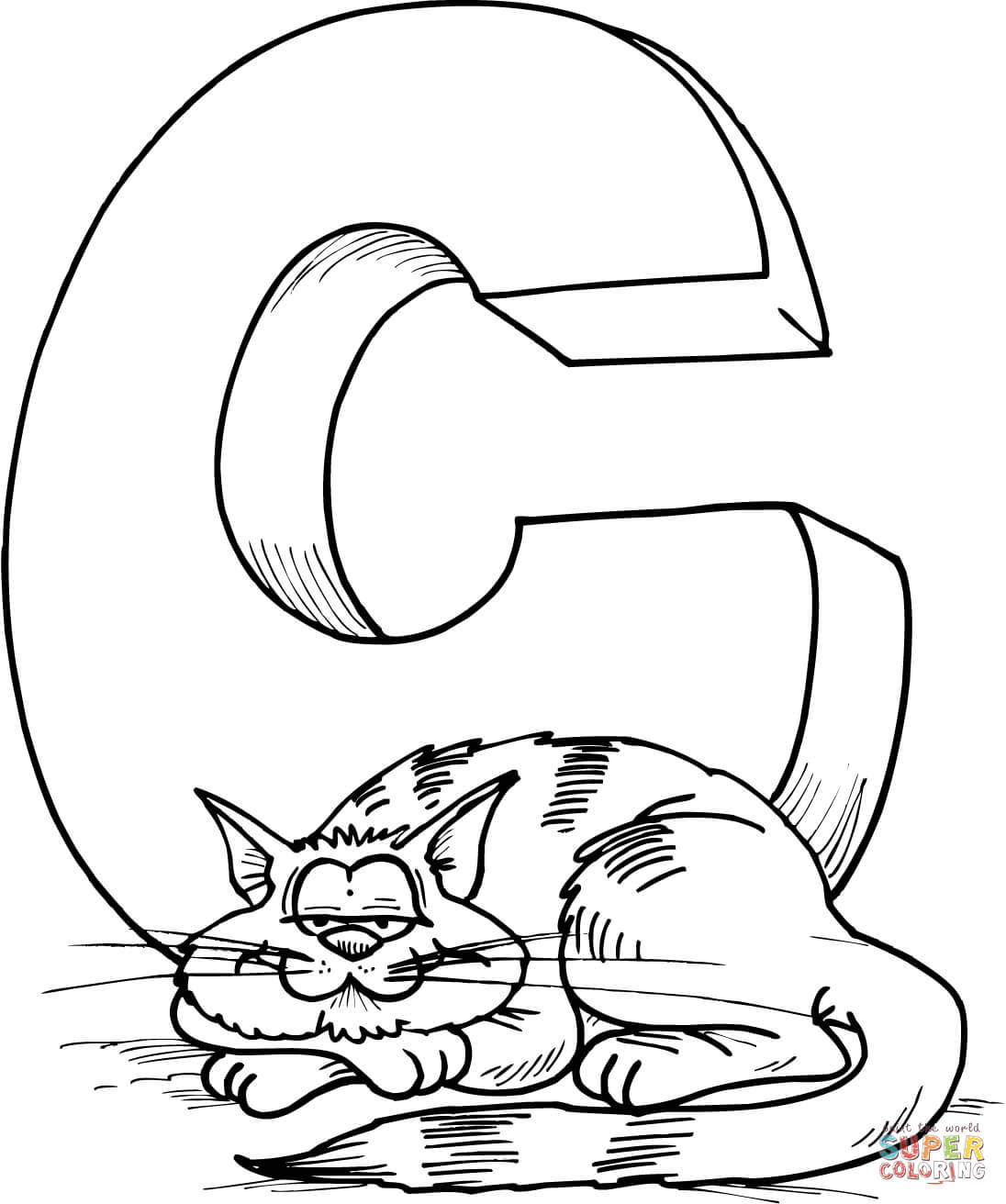 1096x1312 Letter C Is For Cat Coloring Page Free Printable Pages