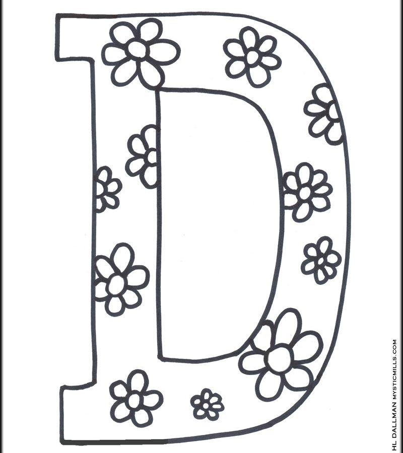 800x900 Letter D Coloring Worksheet For Kids In Preschool Best Pages
