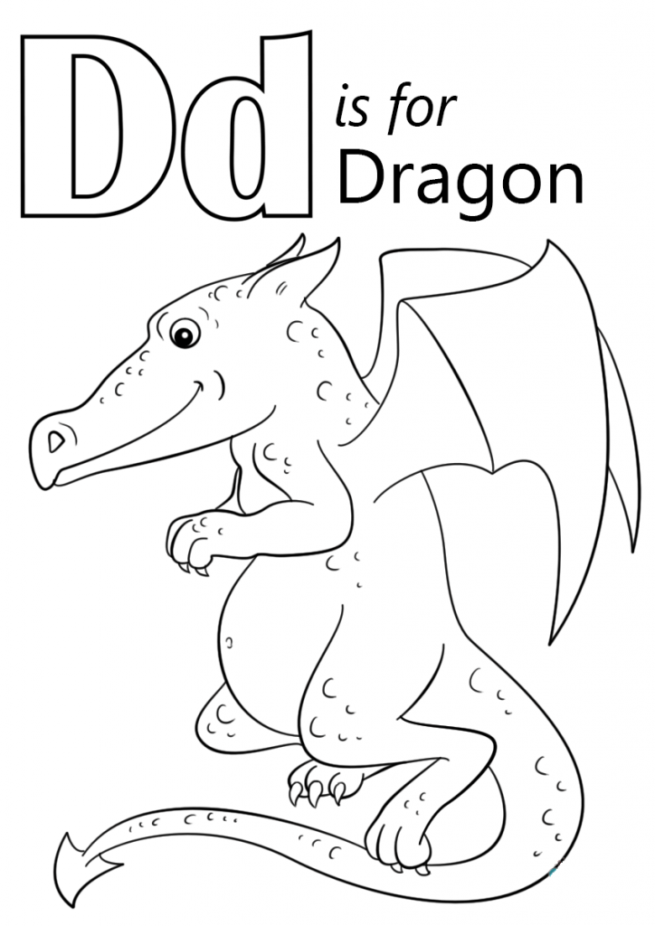 724x1024 Letter D Is For Dragon Coloring Page Download