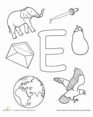 Letter E Coloring Pages Preschool