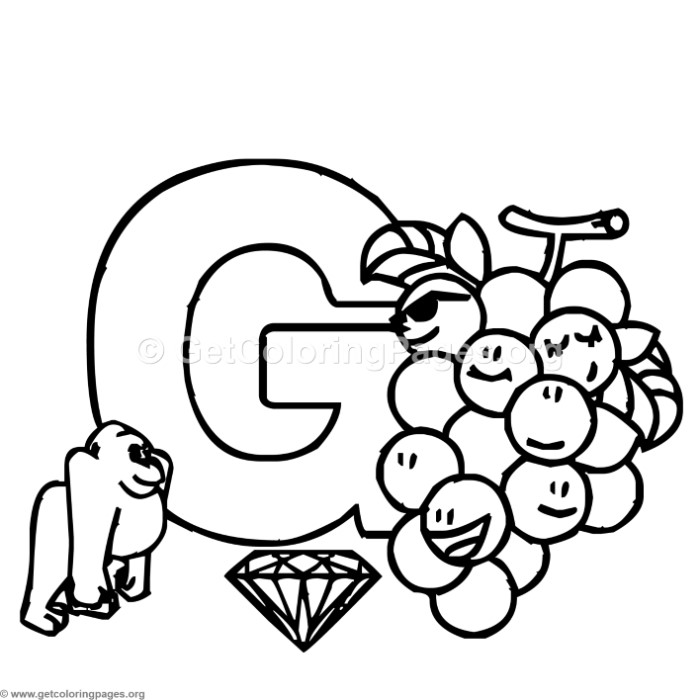 Letter G Coloring Pages