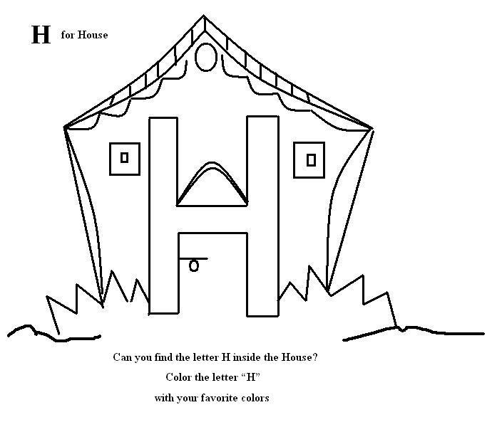 704x607 Letter H Coloring Printable Page For Kids