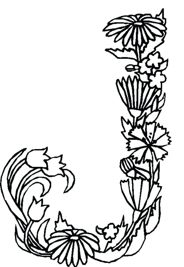 600x869 J Coloring Pages Alphabet Flowers Letter J Coloring Pages Batch