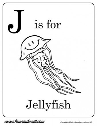339x439 J Is For Jellyfish Letter J Coloring Page Pdf