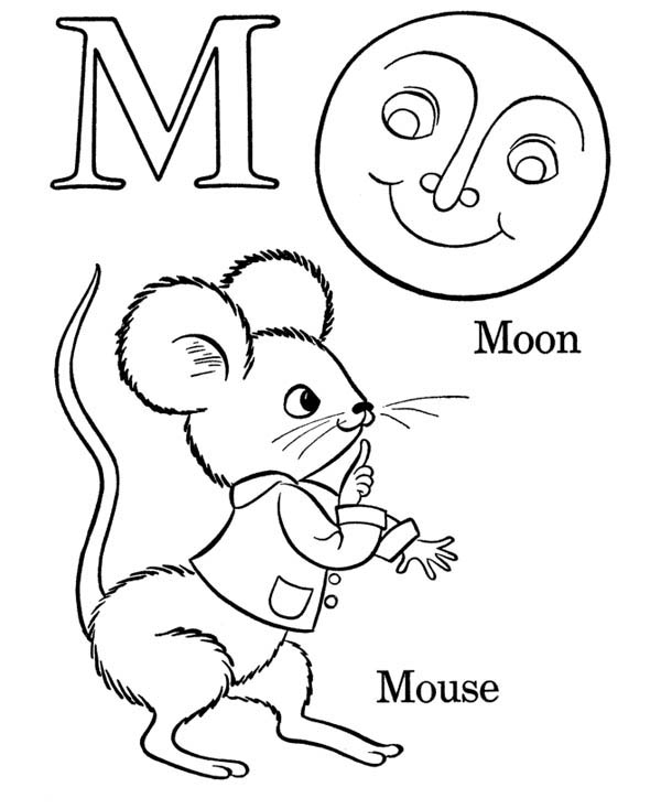 600x734 Letter M, Words Starts With Letter M Coloring Page Words Starts