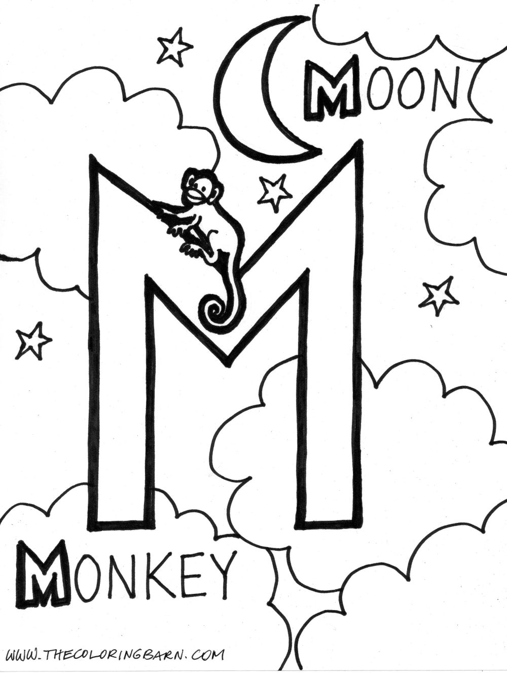 1000x1327 Letter M Coloring Pages Monkey And Moon